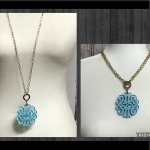 ZENZII Bright Blue Resin Medallion w/Gold Chain